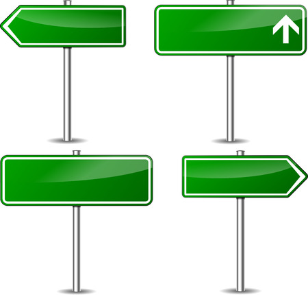illustration of design green road signs set