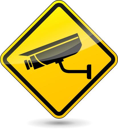 глядя на камеру: иллюстрация желтый знак для камер наблюдения
