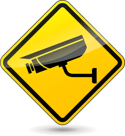 cctv security: illustration of yellow sign for camera surveillance