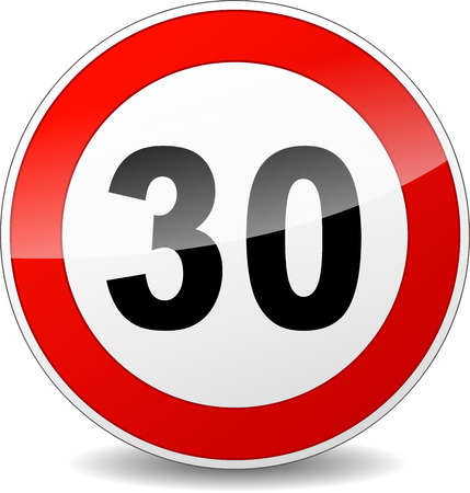 speed limit sign: illustration of red and black speed limit sign