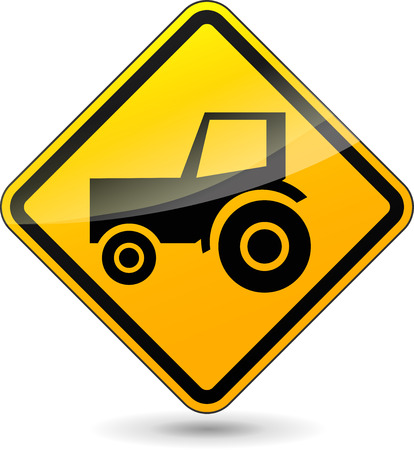tractor warning sign: illustration of yellow design sign for tractor