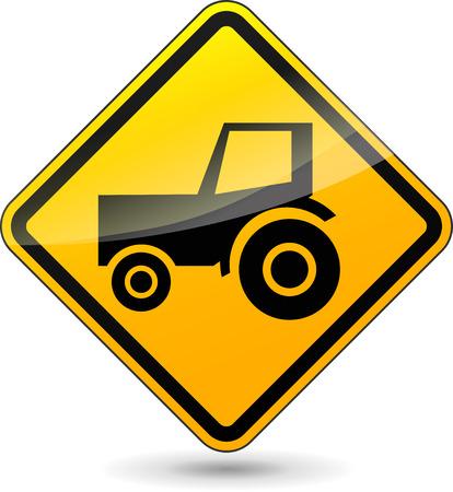 yellow tractor: ilustraci�n de signo dise�o amarillo para el tractor
