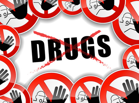 illustration of stop drugs design abstract concept