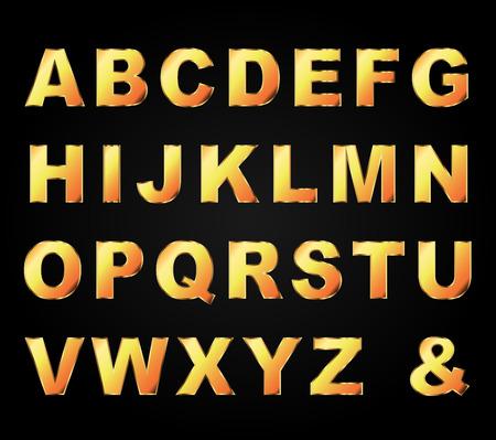 gold letters: vector illustration of gold letters set on black background