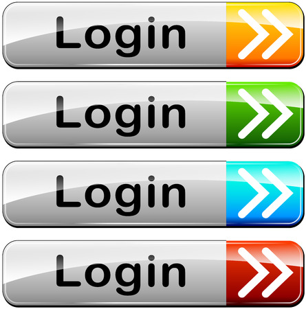 illustration of four login web buttons on white background Vector