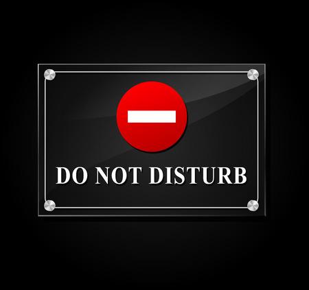 do not disturb: illustration of do not disturb transparent sign on black background