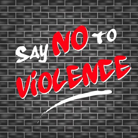no problems: illustration of graffiti for say no to violence Illustration