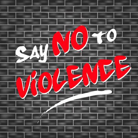 domestic violence: illustration of graffiti for say no to violence Illustration