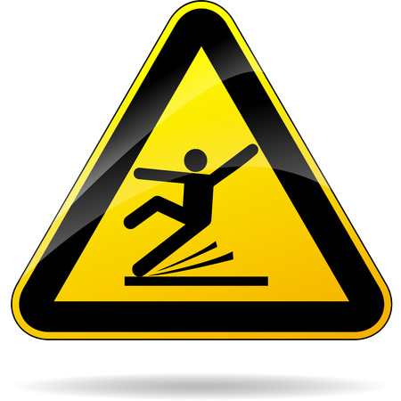 slippery warning sign: illustration of wet floor triangular yellow sign