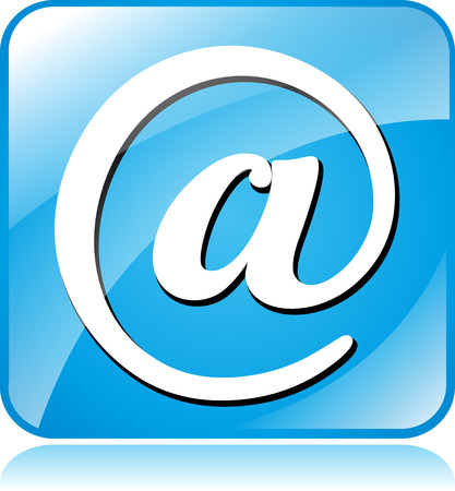 arobase: illustration of blue square icon for email