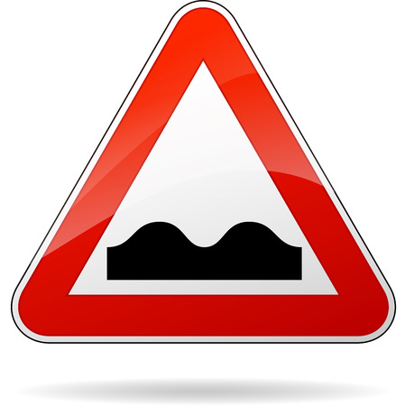 bump: illustration of triangular isolated sign for bump Illustration