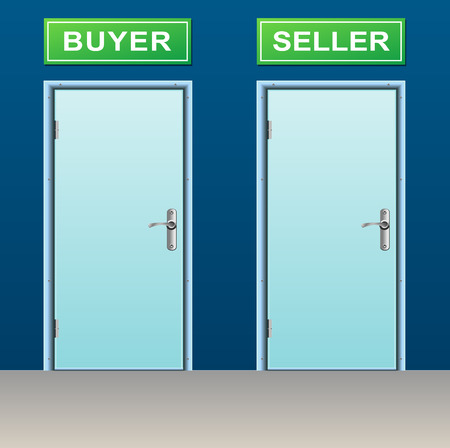 illustration of two doors for buyer and seller Vector