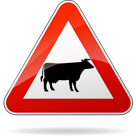 french countryside: illustration of triangular warning sign for cows