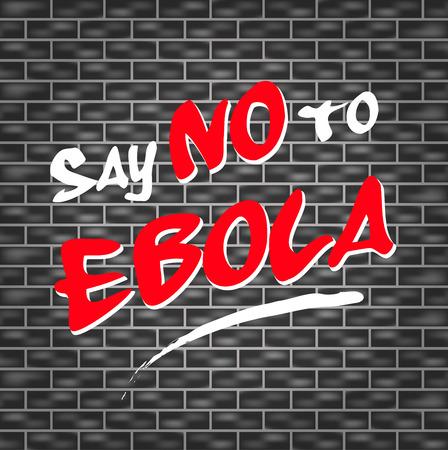 illustration of dark wall with graffiti for no ebola
