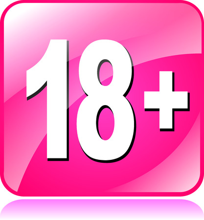 eighteen: illustration of pink square icon for eighteen plus