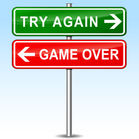 game over: illustration of try again and game over directional signs
