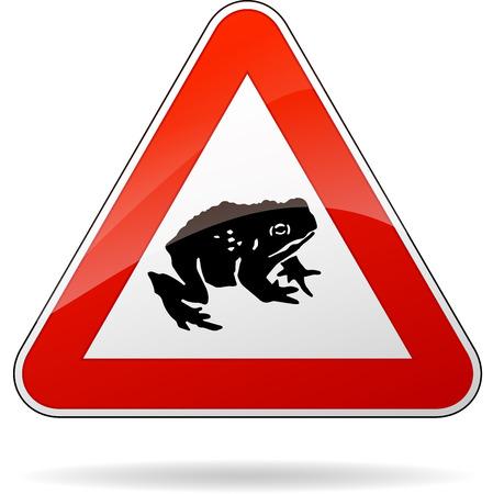 triangular warning sign: illustration of triangular warning sign for toads Illustration