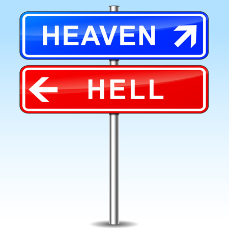 천국: illustration of heaven and hell directional signs 일러스트