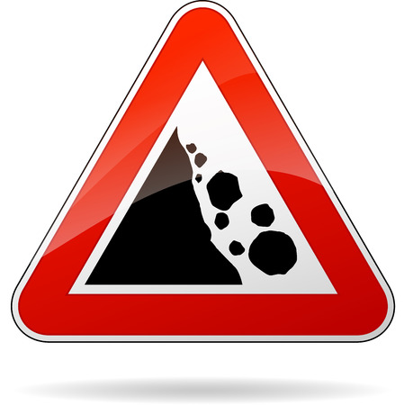 illustration of triangular isolated sign for rockfall