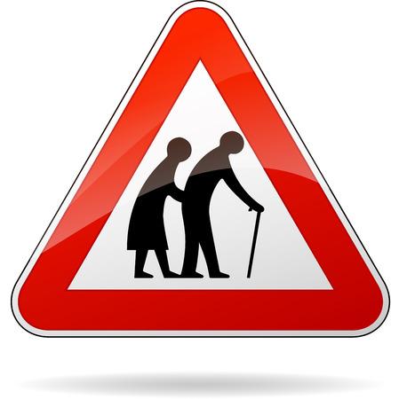 personas ancianas: ilustración de señal triangular de advertencia para los peatones