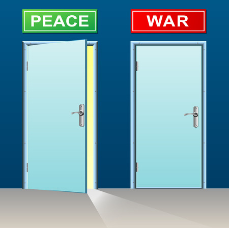 illustration of two doors for peace and war Illustration
