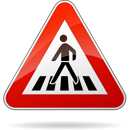 crossing street: illustration of triangular warning sign for pedestrian crossing