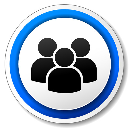 peoples: illustration of circle blue icon for peoples