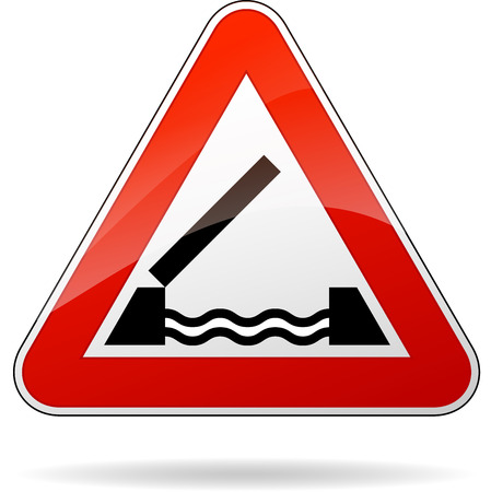 triangular warning sign: illustration of triangular warning sign for bridge