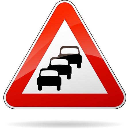illustration of triangular isolated sign for traffic jam