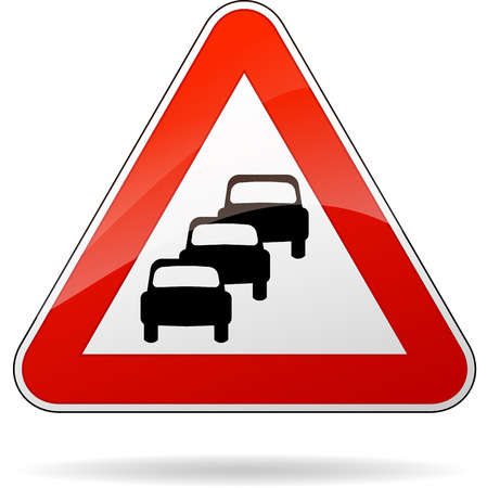 the traffic jam: illustration of triangular isolated sign for traffic jam
