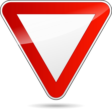 illustration of design yield triangular road sign