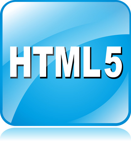 html 5: illustration of blue square icon for html5 Illustration