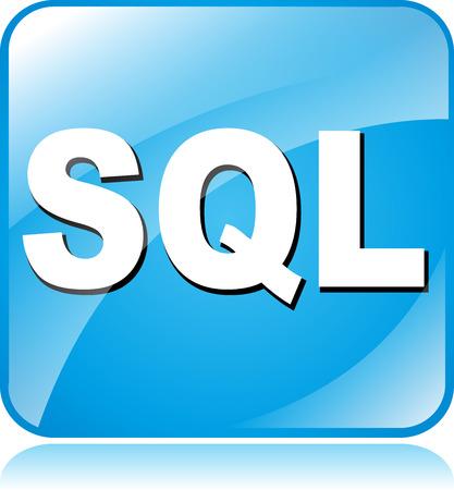sql: illustration of blue square icon for sql