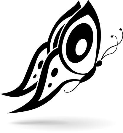 tekening vlinder: illustratie van zwarte vlinder tekening op een witte achtergrond