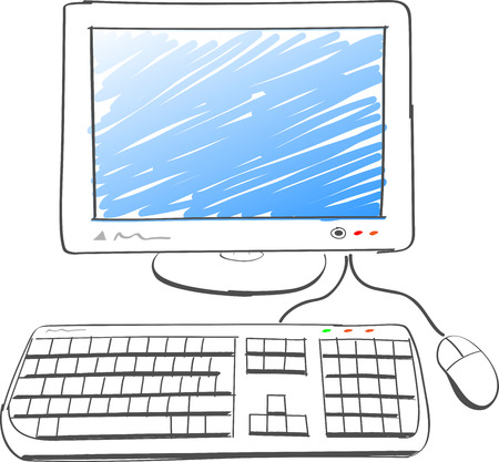 computer screen: illustration of computer drawing on white background