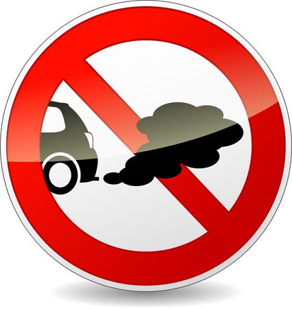 illustration of no smoking cars circle sign Vector