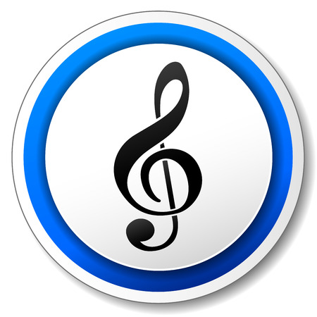 sol: illustration of white and blue icon for music Illustration