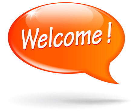 welcome business: illustration of orange design speech for welcome