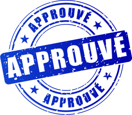 french translation for approved blue stamp icon