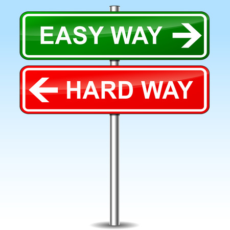 hard way: illustration of easy and hard way directions sign