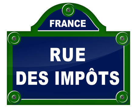 tax policy: French translation of taxes street blue sign Illustration