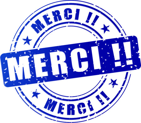 french translation for thank you blue stamp icon Vector