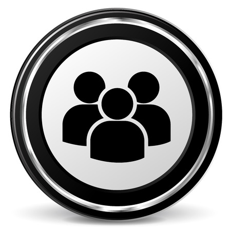 illustration of black and chrome icon for peoples