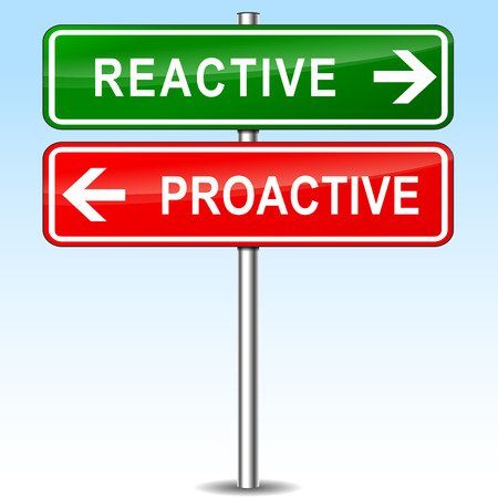 reactive: illustration of reactive and proactive directions sign