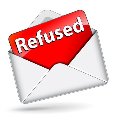 refused: illustration of red refused message in envelope Illustration