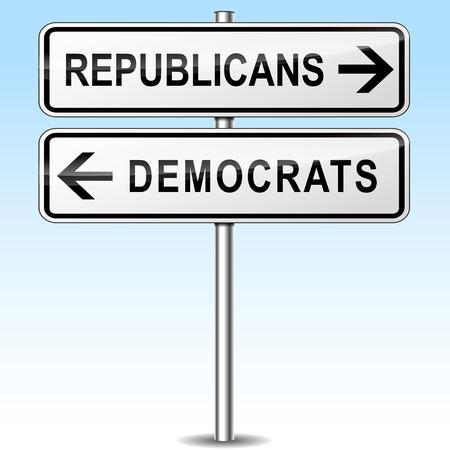 democrats: illustration of republicans and democrats directions sign Illustration