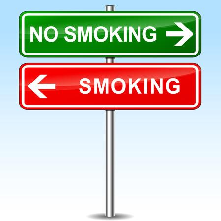 smoking place: illustration of smoking and no smoking directions sign