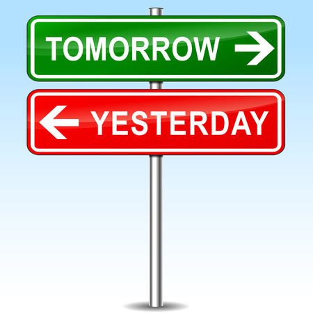 yesterday: illustration of tomorrow and yesterday directions sign Illustration