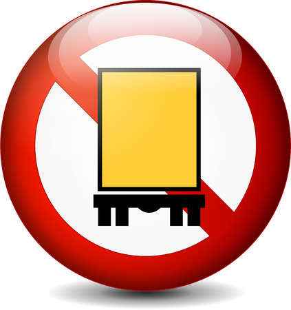 no trespassing: illustration of truck sign isolated on white background
