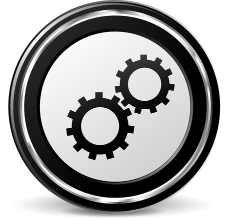 illustration of gears metal icon on white background Vector